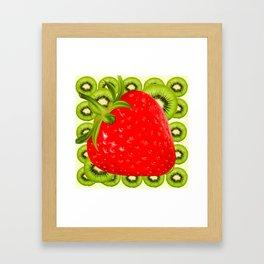 GREEN KIWI & RED STRAWBERRY ART Framed Art Print