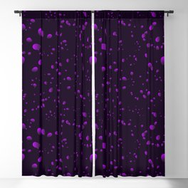 Blueberry iridescent drops and petals on a black background in nacre. Blackout Curtain