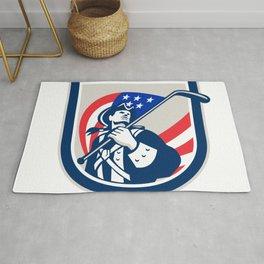 American Patriot Ice Hockey Shield Rug