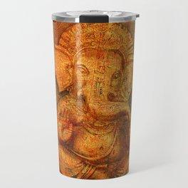 Lord Ganesh On a Distress Stone Background Travel Mug