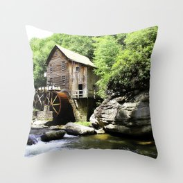 The Mill at Babcock State park Throw Pillow