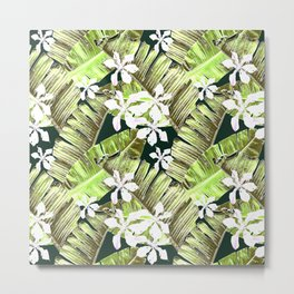 Banana leaves in the flowers. Hawaii Metal Print