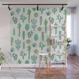Cactus Pattern White Wall Mural