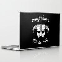 skyrim Laptop & iPad Skins featuring Dragonborn Helmet (Winterhold, Dovahkiin, Skyrim) by SOULTHROW