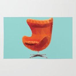 Orange Arne Jacobsen's Egg Chair Polygon Art Rug