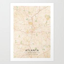 Atlanta, United States - Vintage Map Kunstdrucke
