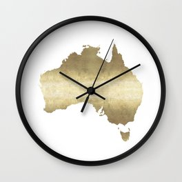australia map gold foil Wall Clock