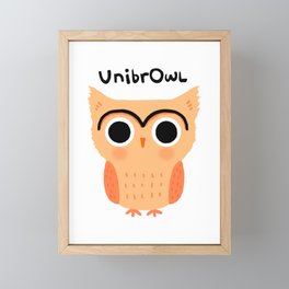 UnibrOwl | Funny Unibrow Eyebrows Owl Illustration Framed Mini Art Print