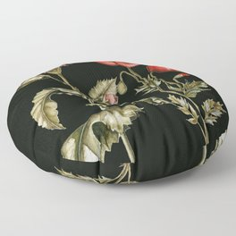 Carnation & Poppy on Charcoal Floor Pillow