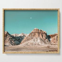 Vintage Red Rocks Moon // Mountain Range Snowcaps in Winter Desert Landscape Photograph Luna Sky Serving Tray