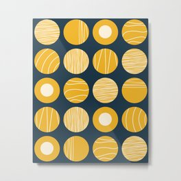 Kugeln - Minimalist Decorated Dot Pattern in Mustard Yellow and Navy Blue Metal Print