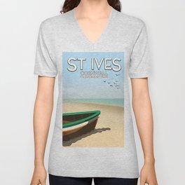 St Ives ,Cornwall ,beach travel poster, Unisex V-Neck