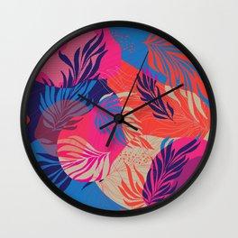 Magenta Leaves Wall Clock