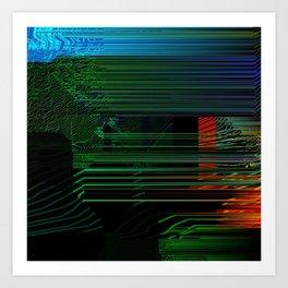 Glitch Contour Art Print