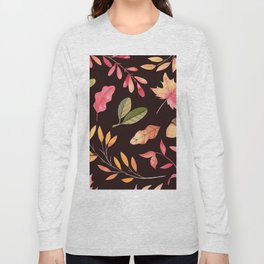 Pink orange yellow brown watercolor fall acorn leaves Long Sleeve T-shirt