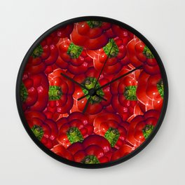 Vegetable Background Pattern Wall Clock