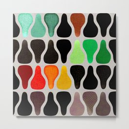 Colorful retro vintage abstract pears pattern Metal Print