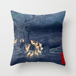 Foxfires at the Changing Tree Throw Pillow