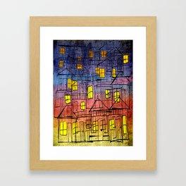 Casitas al Atardecer Framed Art Print