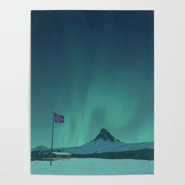 Iceland Flagpole Poster