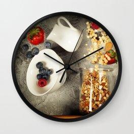 Flying breakfast against grey wall Wall Clock
