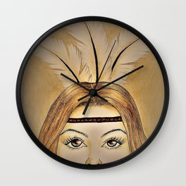 Lady with feathers Wall Clock