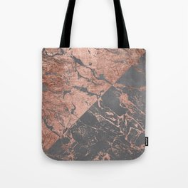 Modern rose gold marble inverted color block grey cement concrete Tote Bag