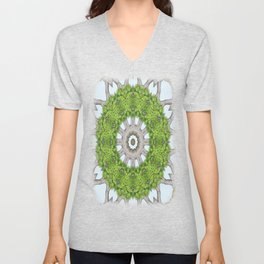 Bark Leaves Stone Kaleidoscope Art 6 Unisex V-Neck