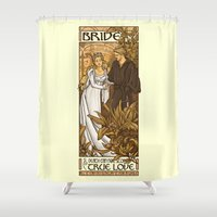 mucha Shower Curtains featuring Bride by Karen Hallion Illustrations