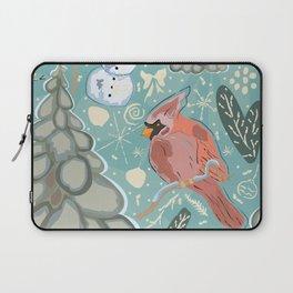 Seamless Winter Pattern with cute Cardinal Bird, Snowman and Spruce Tree Laptop Sleeve
