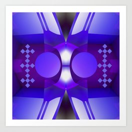 Geometric abstract in purples and grey Art Print