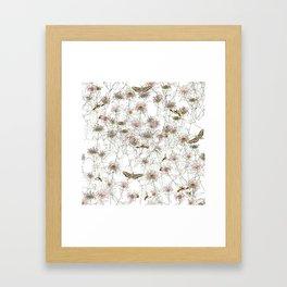 Moths on Bee Balm Framed Art Print