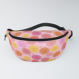 Hibiscus Hawaiian Flowers in Pinks and Corals on Pink Fanny Pack