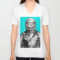 "jfk V-neck T-shirts featuring JFK ASTRONAUT (or ""All Systems Are JFK"") by Dan Levin's Objects of Curiosity"