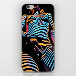 1813s-AK Zebra Striped Woman Hand on Pubis Rendered Composition Style by Chris Maher iPhone Skin