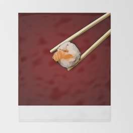 Sushi in red Throw Blanket