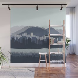 Vancouver Skyline in Blues Wall Mural