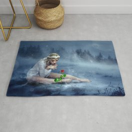 Magnificent Fairytale Princess Adoring Red Flower Dreamy Ice Storm UHD Rug