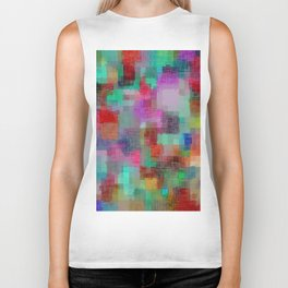 geometric square pixel pattern abstract in green blue red pink purple Biker Tank
