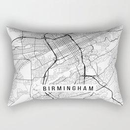 Birmingham Map, Alabama USA - Black & White Portrait Rectangular Pillow