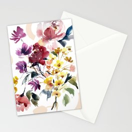 Bold Bohemian Watercolor Floral Stationery Cards