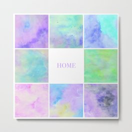 Watercolour Galaxy Collage Home Metal Print