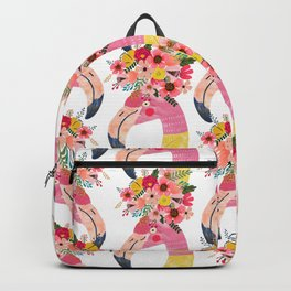 c83e887ac41d Pink flamingo with flowers on head Backpack