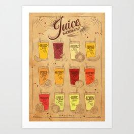 Juice menu kraft Art Print