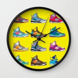 Colorful Sneaker set yellow illustration original pop art graphic print Wall Clock