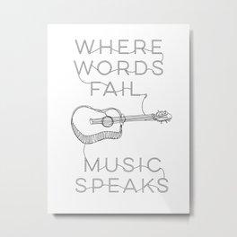 Music Guitar Monoline Drawing Metal Print