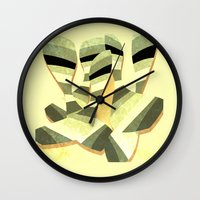 striped Wall Clocks featuring striped by Herb Vaine