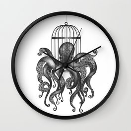 Octopus in a birdcage Wall Clock
