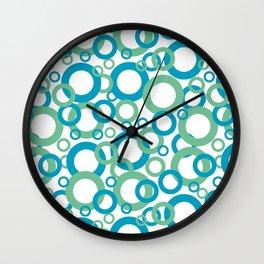 Blue Green White Geometric Ring Pattern 2021 Color of the Year AI Aqua 098-59-30 Wall Clock