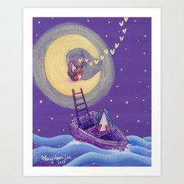 Penguin's Ladder Connects Boat to the Moon and the Singing Penguin Art Print